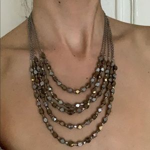 Anthropologie multi chain silver + gold necklace